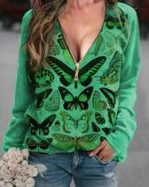 Butterfly Printed V Neck Print Sweatshirt
