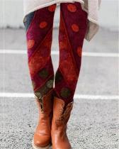Stretchy Vintage Print Leggings Casual Milk Fabric Pants