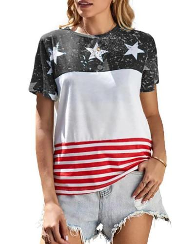 American Flag Color Block T-Shirt Tee - Blue