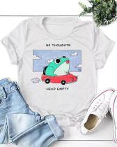Women Funny Frog Print Simple T-shirt