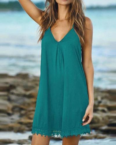 Women's Summer Dresses Lace Hem Dress