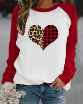 Heart Shaped Leopard And Plaid Print Long Sleeves Color Block T-shirt