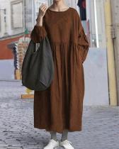 Casual Pure Color O Neck LinenCotton Cocoon Dress