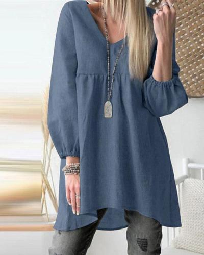Womens Full Sleeve V Neck Jumper Long Shirts Tunic Pleaed Loose Dress