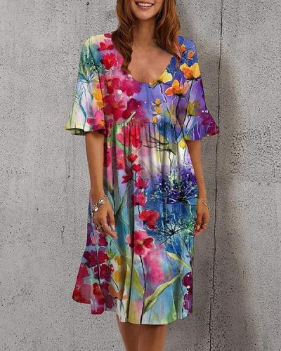 Women Holiday U Neck Colorful Floral Ruffle Dress