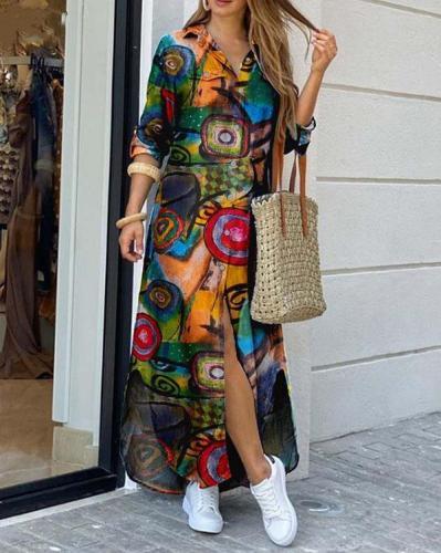 Colorful Print Slit Buttoned Shirt Dress