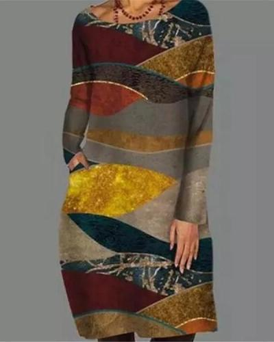 Vintage Geometric Print Round Neckline Mini Dress