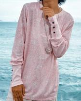 Pink Print Crew Neck Shift Women T-shirts