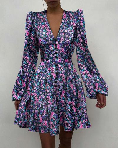 Printed Puff Sleeve Ruched Button Front Dress