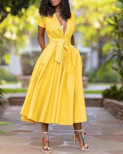 Plus Size Sexy Elegant V Neck Maxi Dress