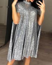 Sequins Long Sleeve Shift Knee Length Elegant Dresses