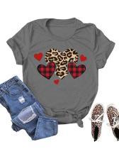Love Heart Printed Casual Short Sleeves T-Shirt
