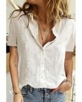 Vintage Stand Collar Short Sleeve Button Blouse