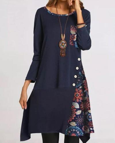 Vintage Floral Patchwork Pocket Round Neckline Dress
