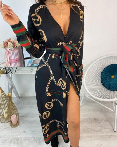 Sexy Summer Lady Long Party Deep v-Neck Belt Girl Maxi Dress