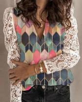 Lace Color Block V Neck Long Sleeves Elegant Blouses