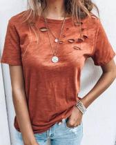 Fashion Pure Color Daily Short Sleeve Hole T-shirt