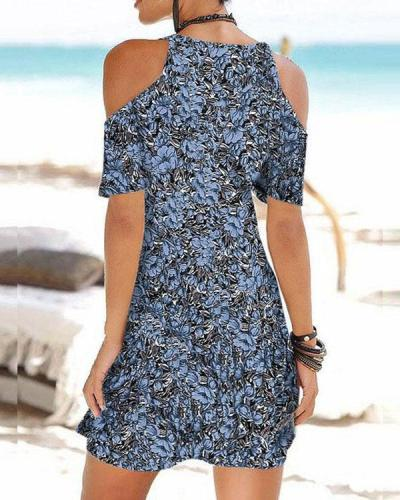 Sexy Print Mini Dress Cold Shoulder Holiday Beach Dress