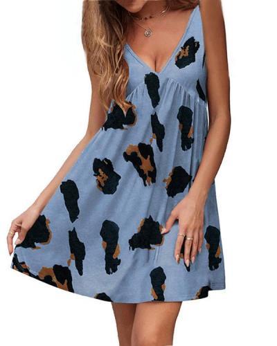 Summer New Style V-neck Strap Leopard Print Dress