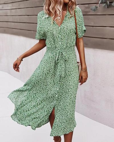 Floral Print Lapel Button Knotted Short Sleeve Dress For Women