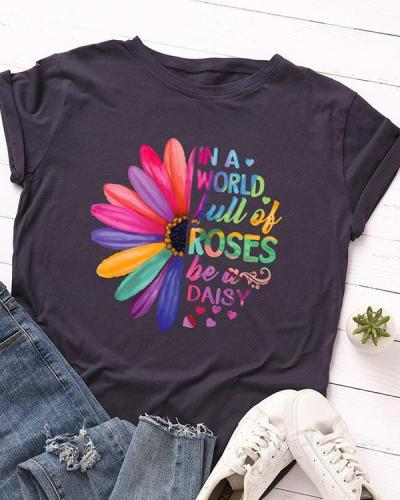 Womens Plus Size Letter Print Be A Daizy T-shirt