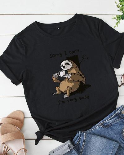 Womens Plus Size Cartoon Bear Letter Print T-shirt Tops