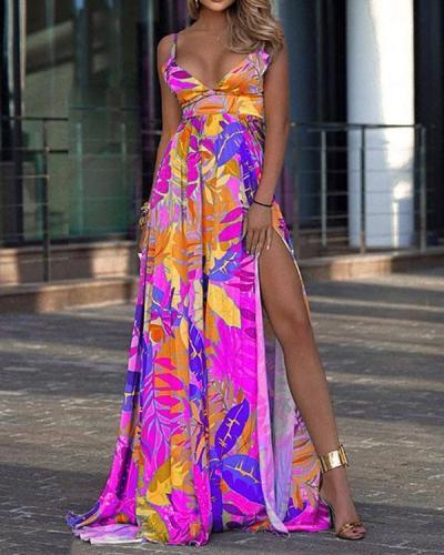 Elegant Spaghetti Strap Holiday Floral Slit Dress