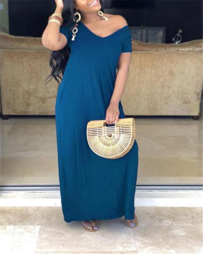 Slouchy Solid Maxi Dress - clearance