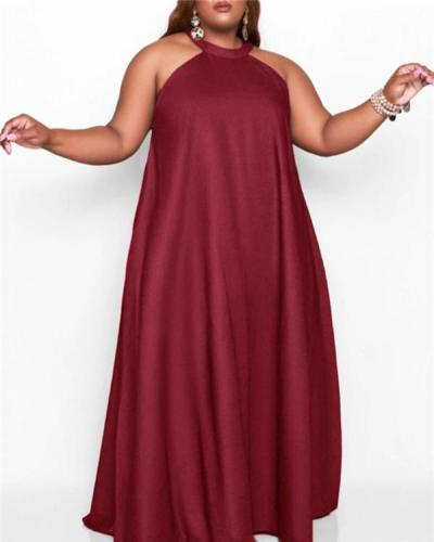 Round neck sleeveless loose vest solid color plus size dress