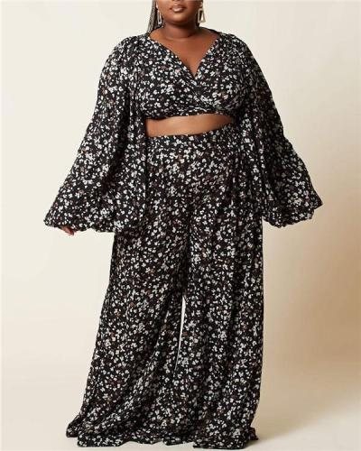 Leopard digital print women's lace-up lantern long-sleeved cardigan loose wide-leg pants suit