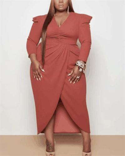 European and American plus size dress V-neck irregular dress long sleeves solid color slit
