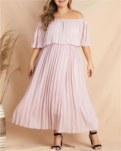 Lady temperament European and American women's plus size one-line collar off-shoulder pleated dress