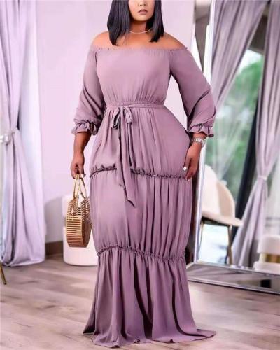Pure color plus size lace dress