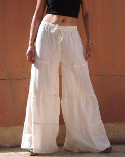 Cotton and linen loose solid color elastic waist large size wide leg pants