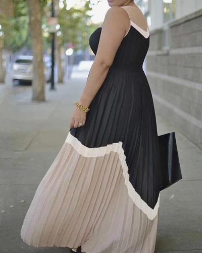 Large size contrast color pleated mid-length women's dress