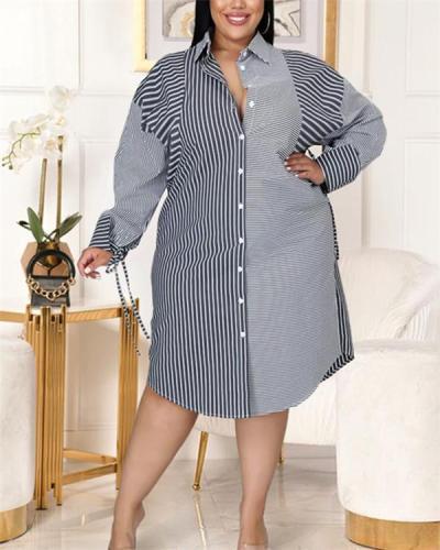 Stitched striped print tie shirt dress