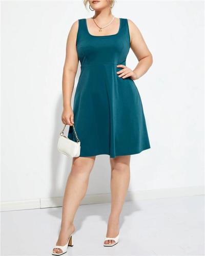 Oversized square collar solid color open back sleeveless mini dress
