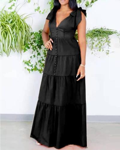 Solid color sleeveless ruffled slit long dress