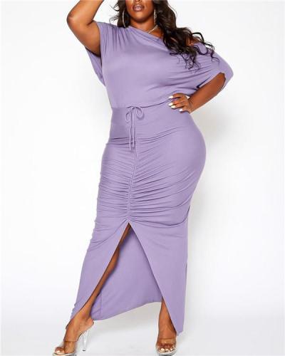 Fashion Irregular Slanted Shoulder Top Drawstring Bag Hip Skirt Set