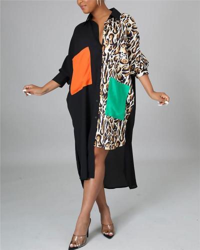 Plus Size Contrast Asymmetric Shirt Dress