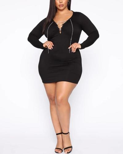 Fashion solid color long skirt long sleeve elastic slim fit V-neck bead chain dress