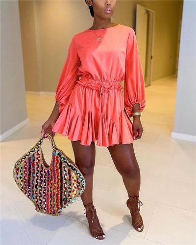 Solid Drawstring Ruffle Romper Large Size Dress