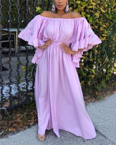 Off-Shoulder Bell-Sleeve Maxi Dress