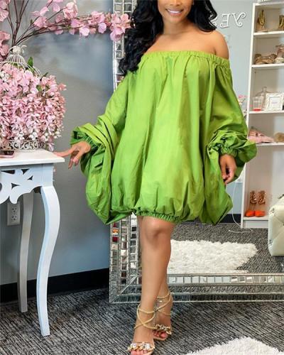 Street hipster loose short skirt solid color strapless dress