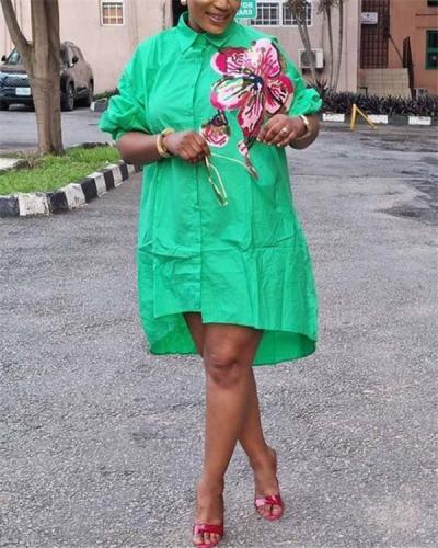 Loose waist sequin embroidery temperament commuter midi skirt cotton dress