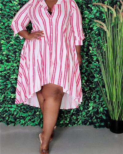 Striped long-sleeved lapel single-breasted shirt dress