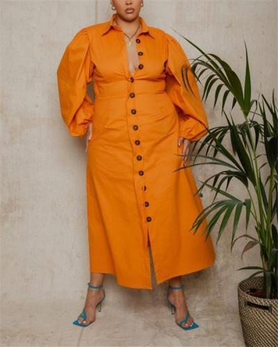 Lapel single-breasted long-sleeved shirt dress