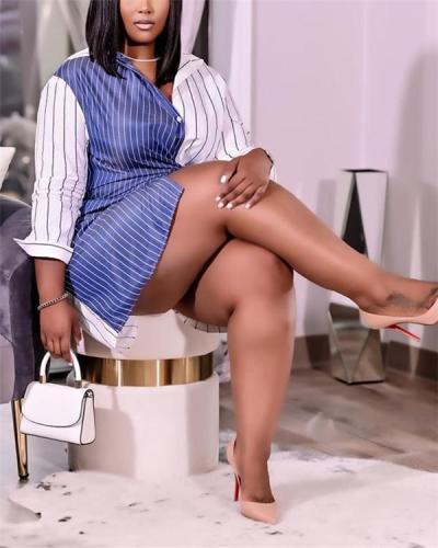 Plus size women's long-sleeved striped stitching shirt dress