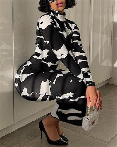 Stretch high neck long sleeves printed tight-fitting dress base dress