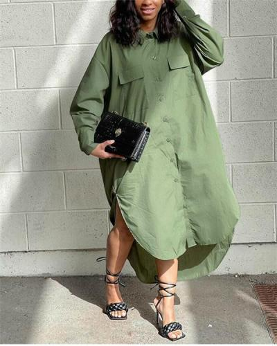 Side Slit Pocket Button Plus Size Dress